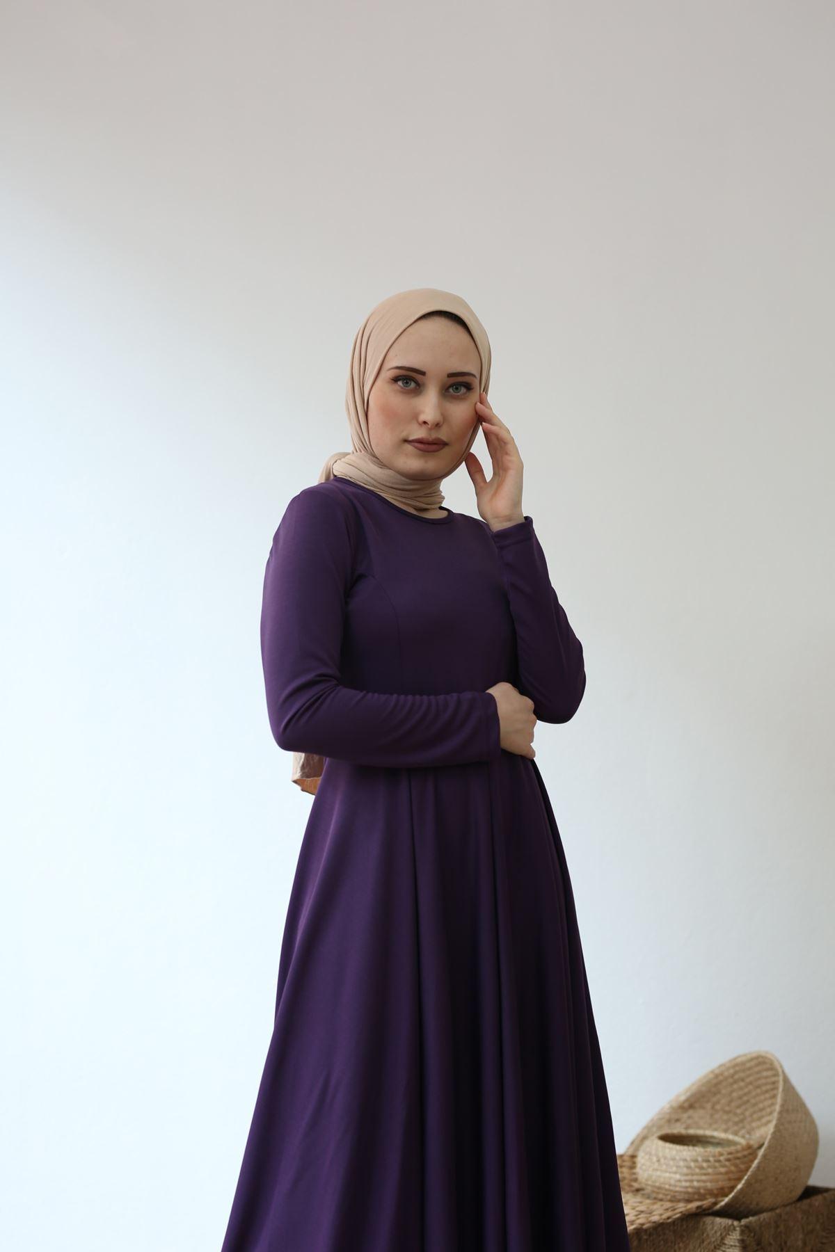 Kuyruklu Tesettür  Elbise - Mor