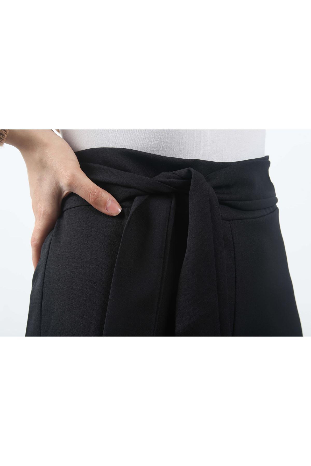 Beli Lastikli Bol Paça Pantolon - Siyah