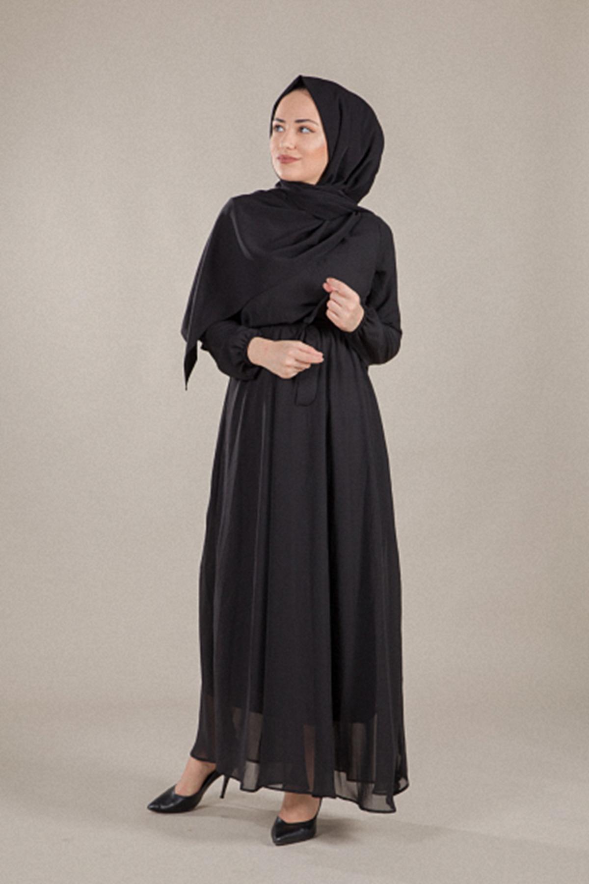 Kruvaze Şifon Tesettür Elbise - SİYAH