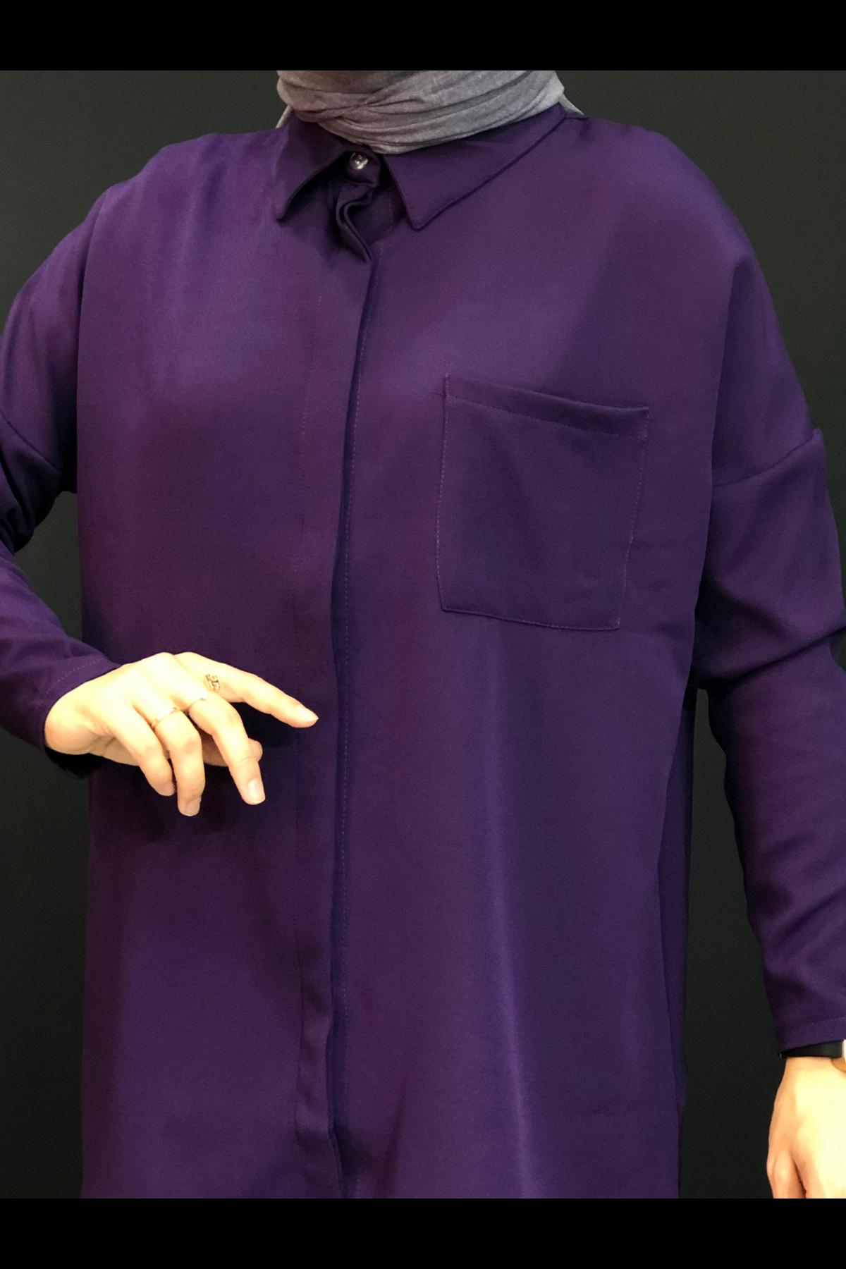 Cepli  Tesettür Gömlek - Mor