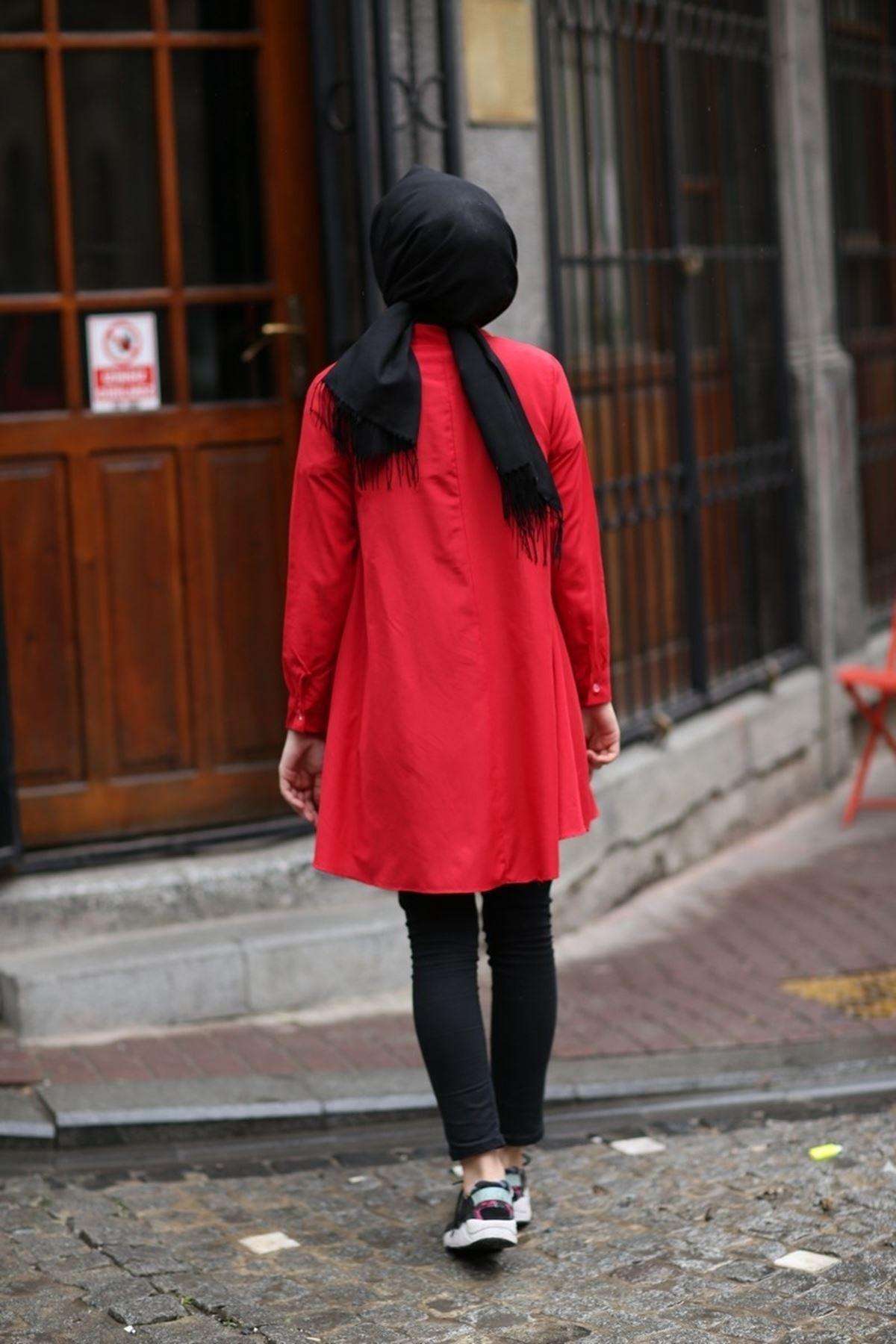 Çift Katlı Tesettür Mevlana Gömlek  -  Kırmızı