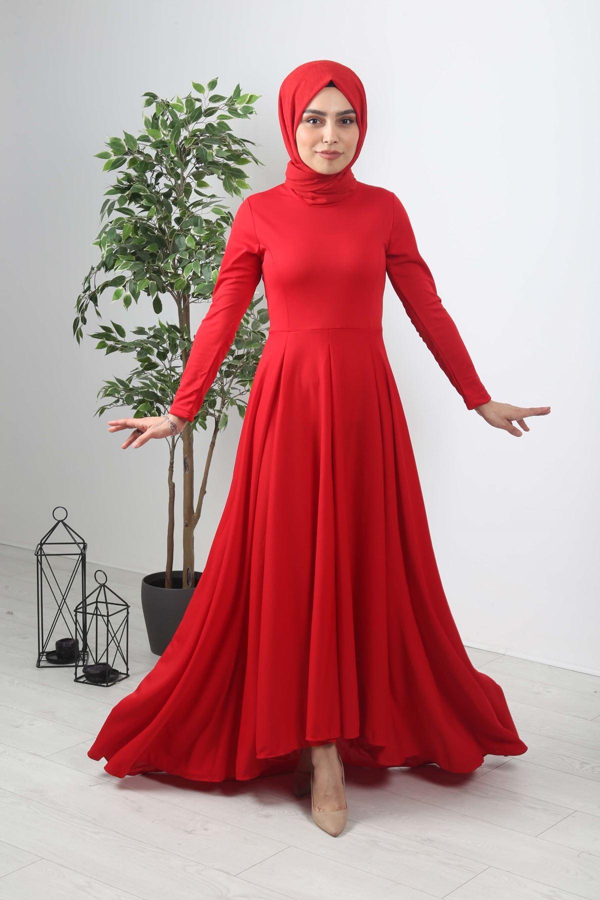 Kuyruklu Tesettür  Elbise -  Kırmızı