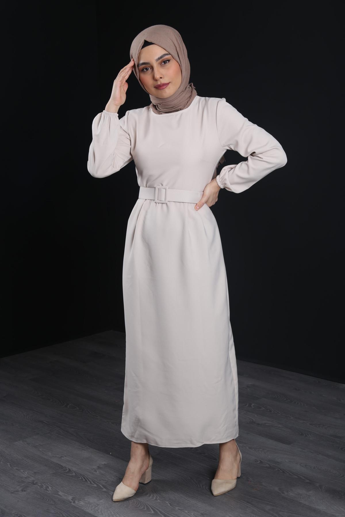 Kemerli Tesettür Kalem Elbise - TAŞ