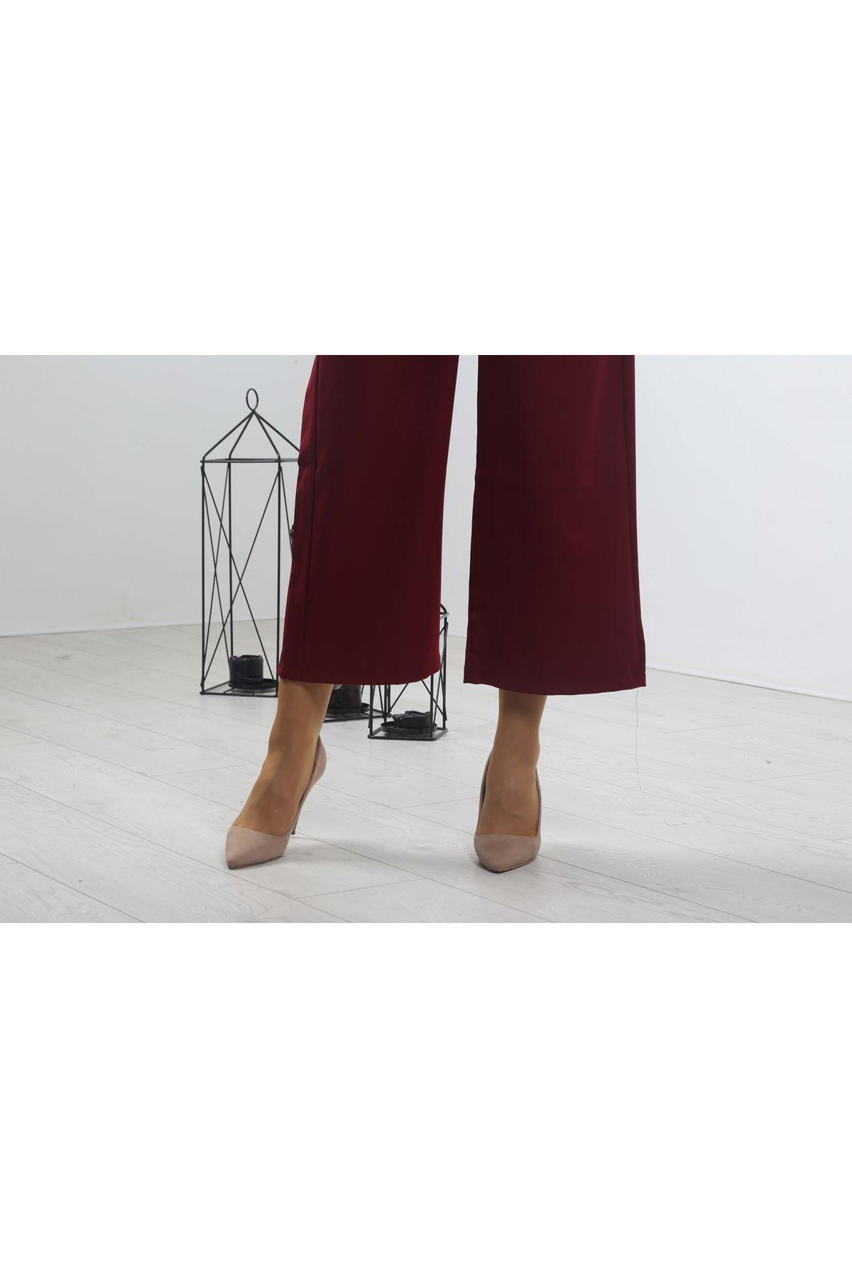 Beli Lastikli Bol Paça Pantolon - Bordo