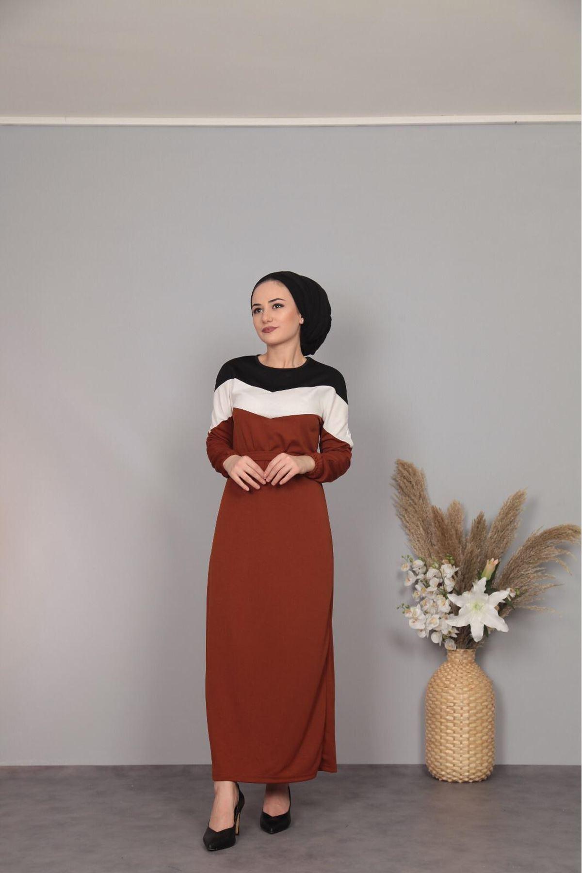 Şerit Detaylı Elbise  - TABA