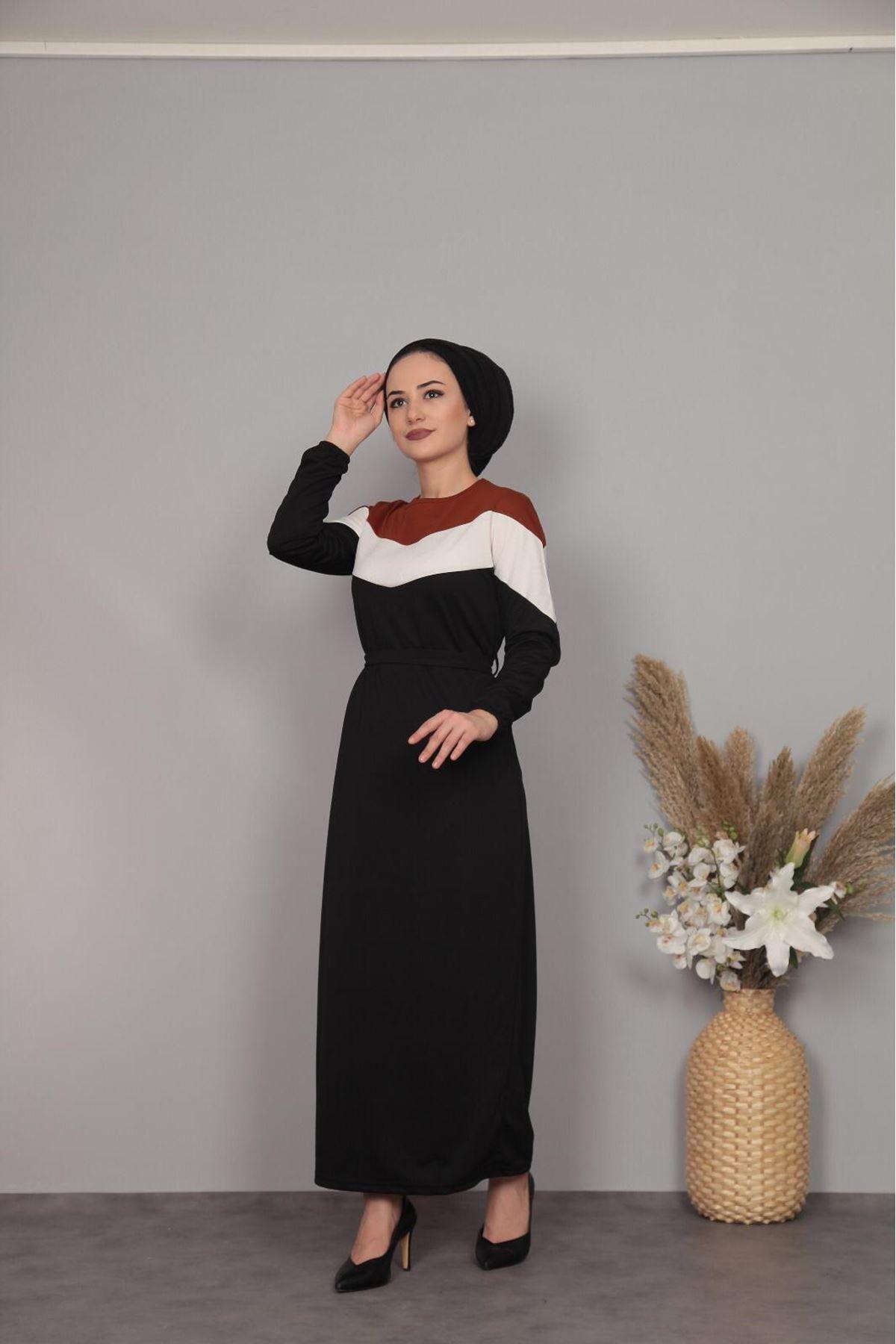 Şerit Detaylı Elbise - SİYAH