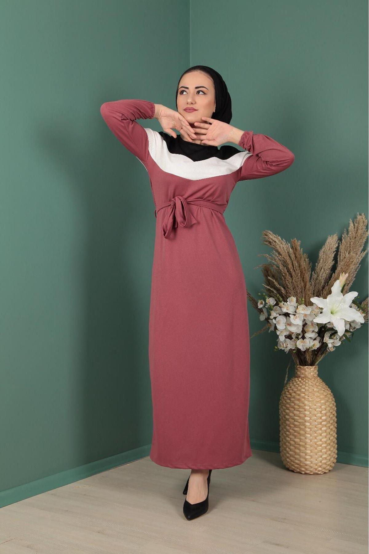 Şerit Detaylı Elbise  - GÜL KURUSU