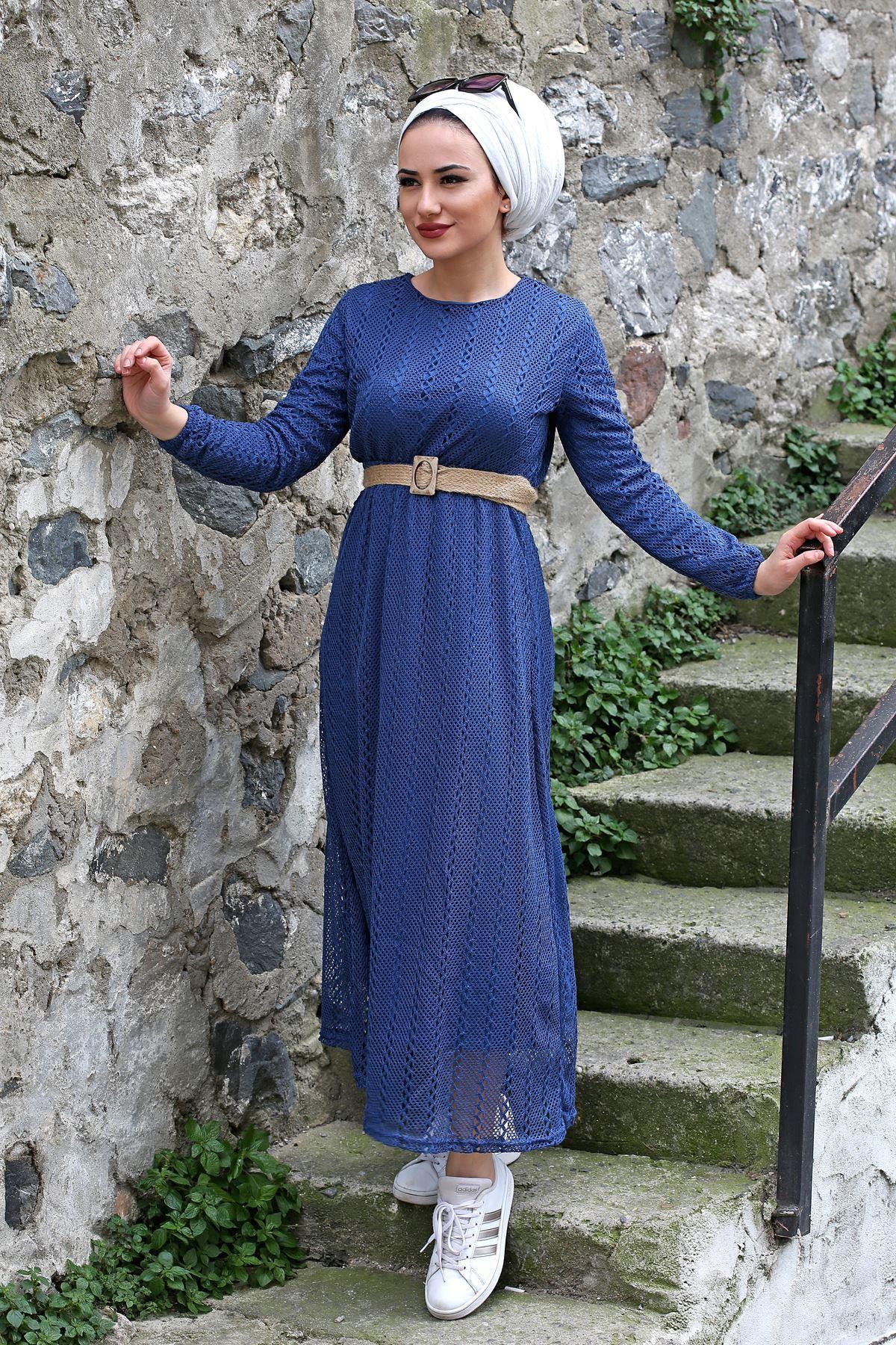 Armoni Tesettür Elbise - İndigo