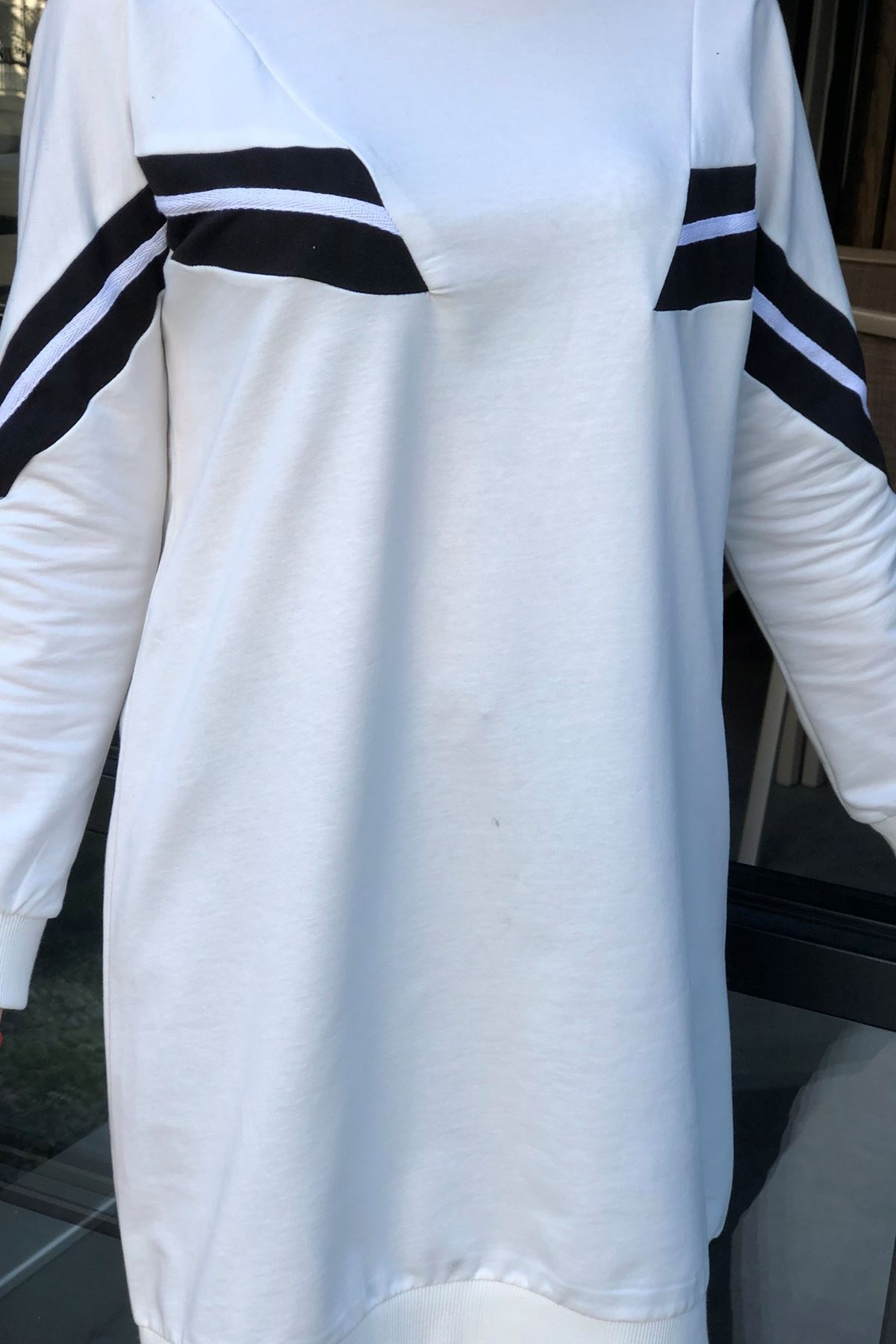Şeritli Sweatshirt-Beyaz