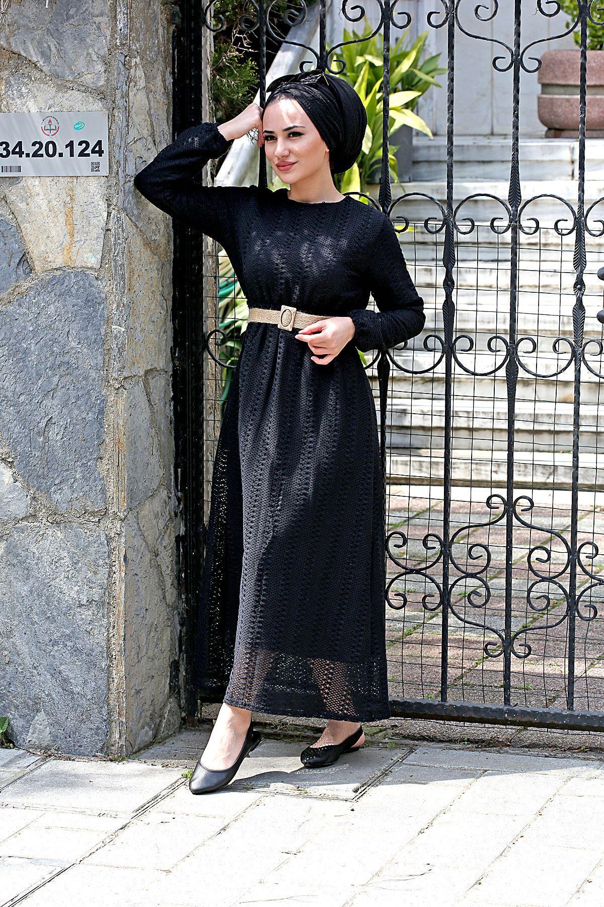 Armoni Tesettür Elbise - Siyah