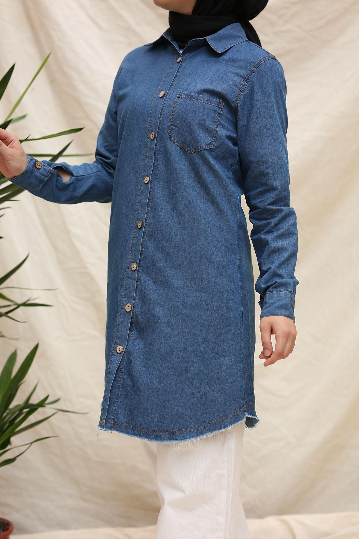 Püskül Detaylı Kot Tunik Gömlek -Mavi