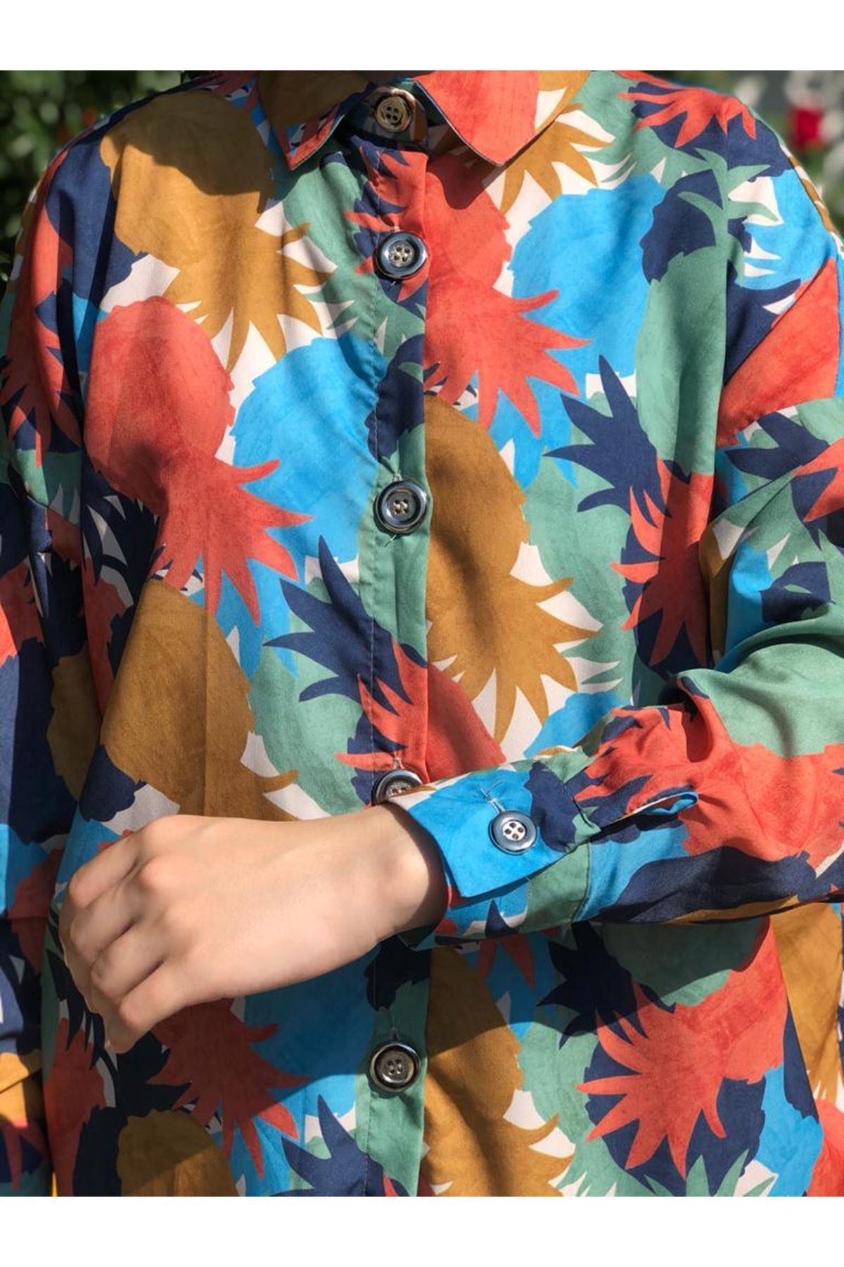 Fenomen Desen Tunik Gömlek - Taba