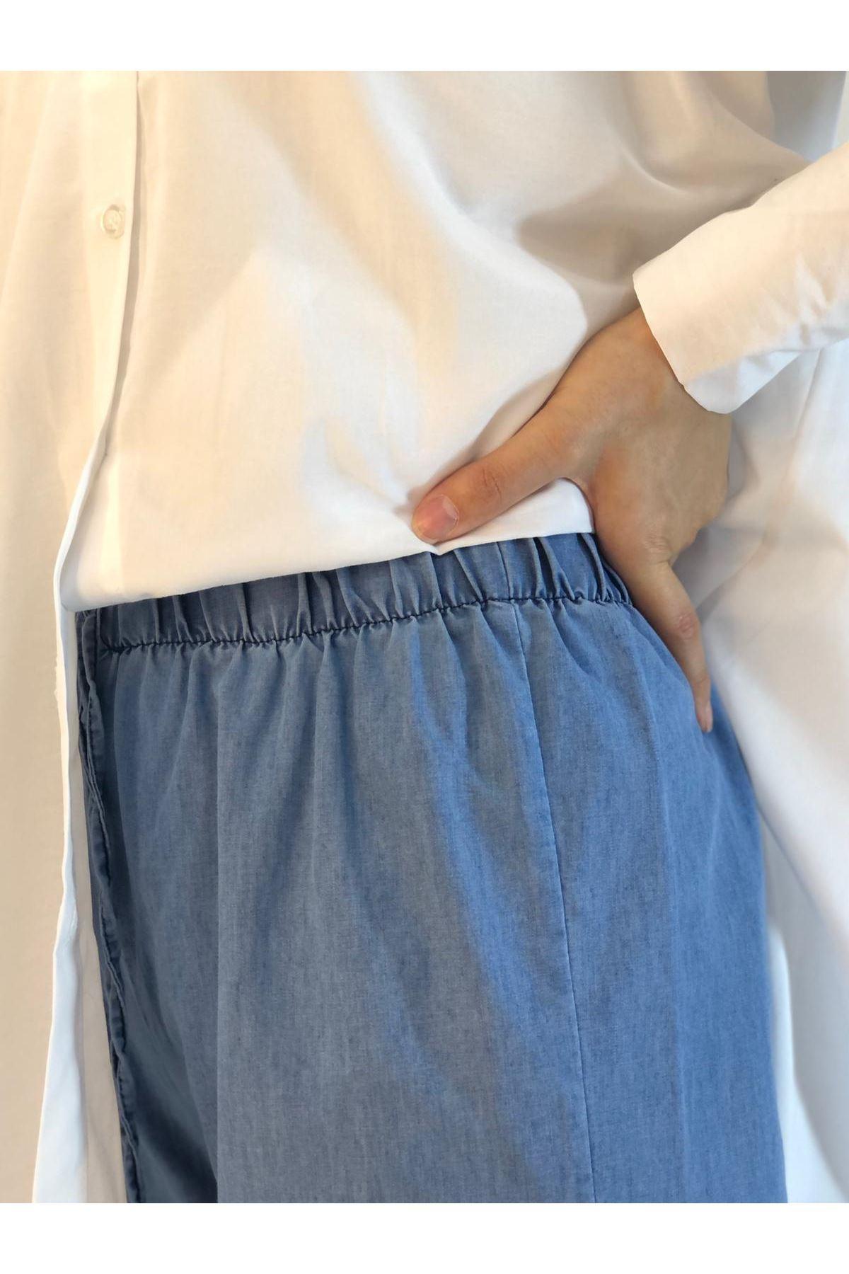 Veka Bol Paça Kot Pantolon - Açık Mavi