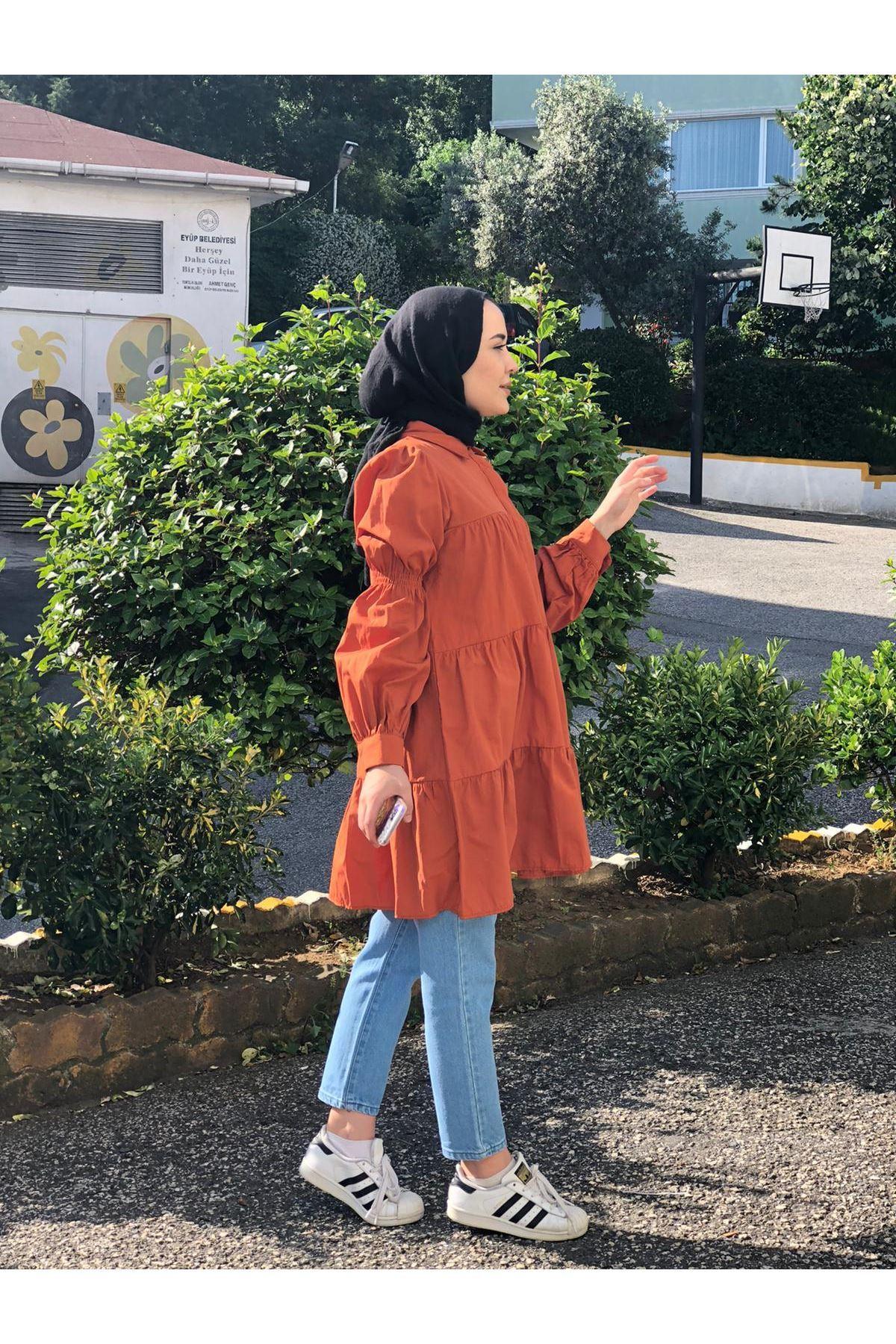 Lastik Büzgülü Katlı Tunik Gömlek - KİREMİT