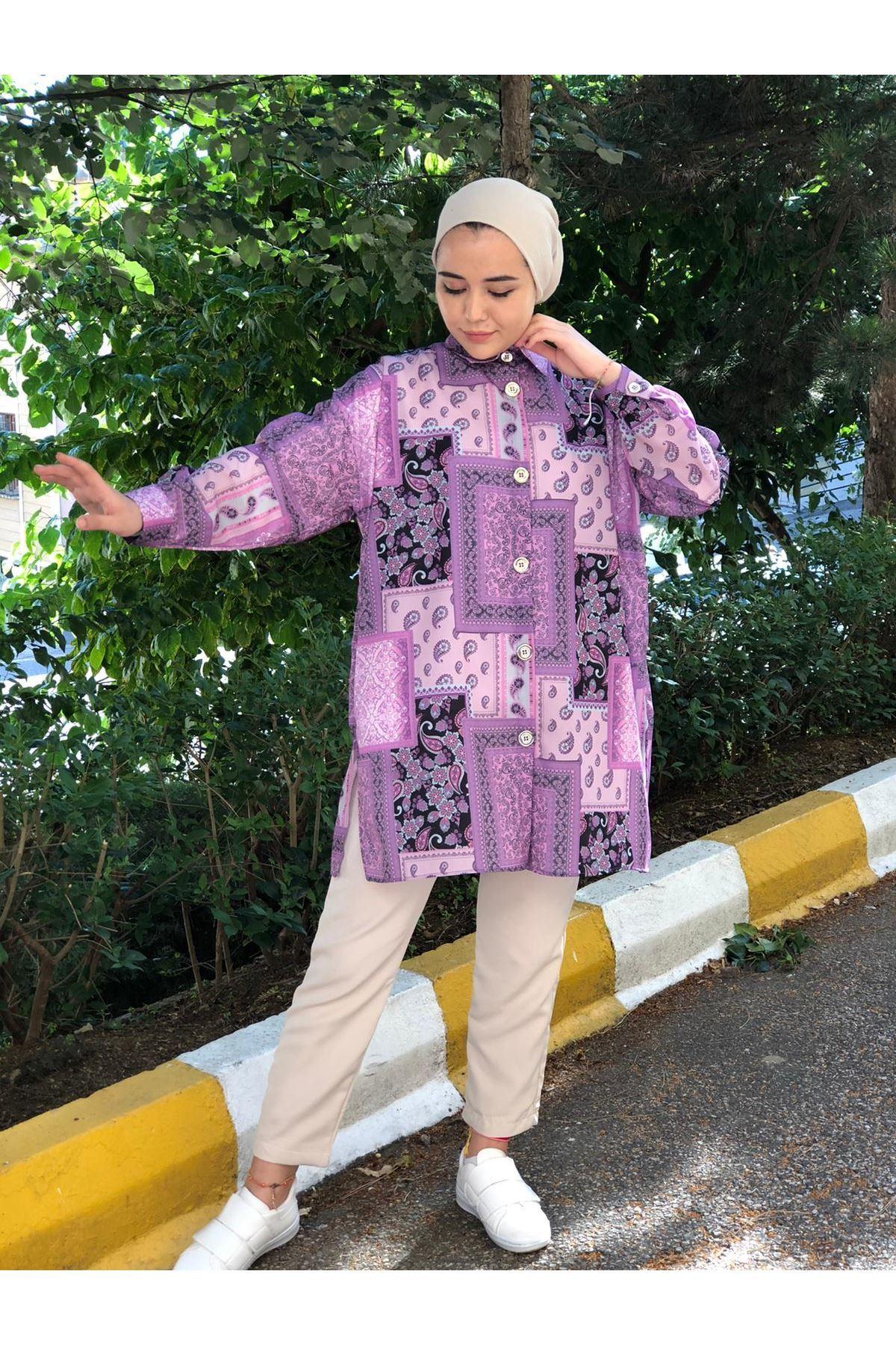 Dila Desen Tunik Gömlek - Mor