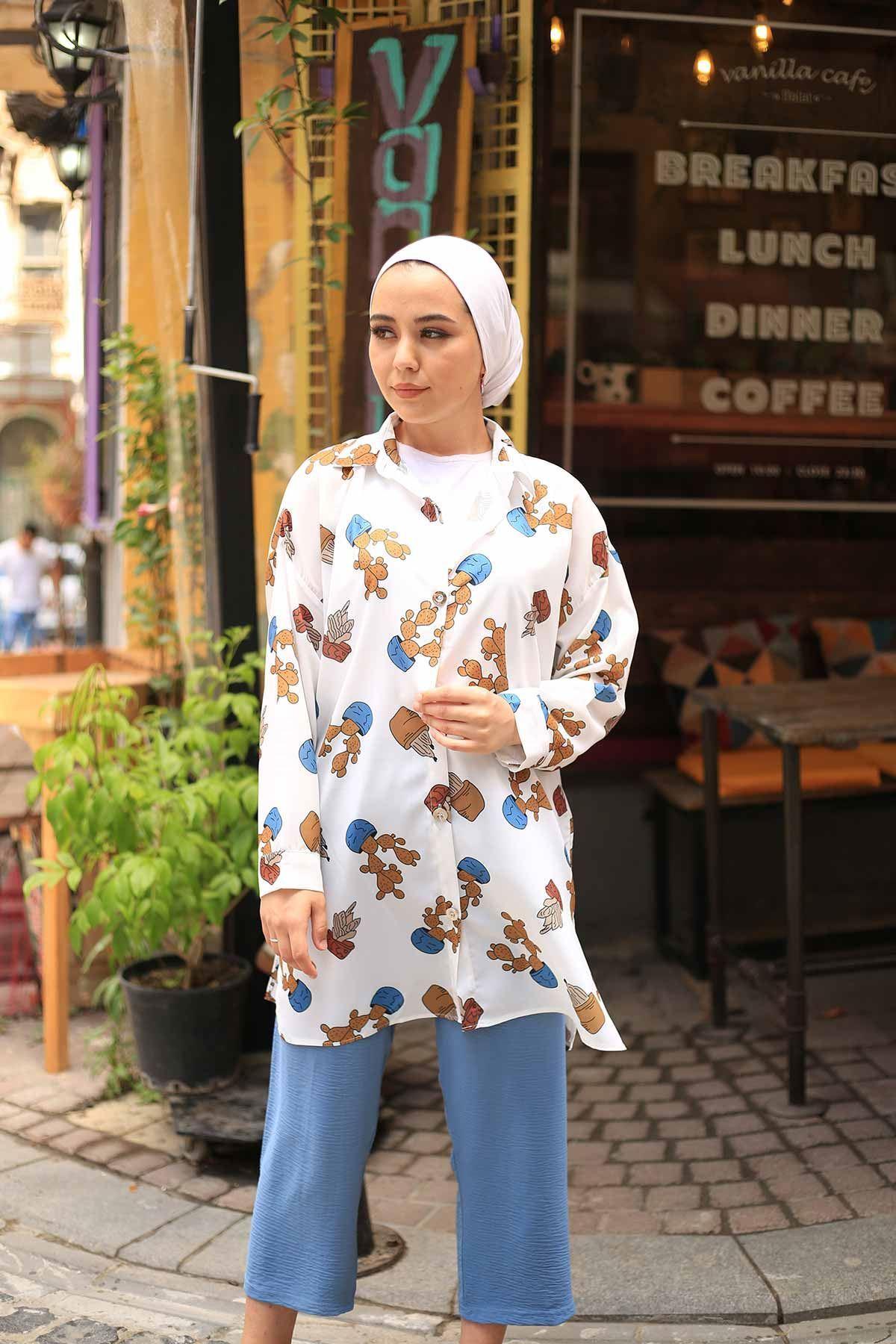 Kaktüs Desen Tunik Gömlek - İndigo-Kahve