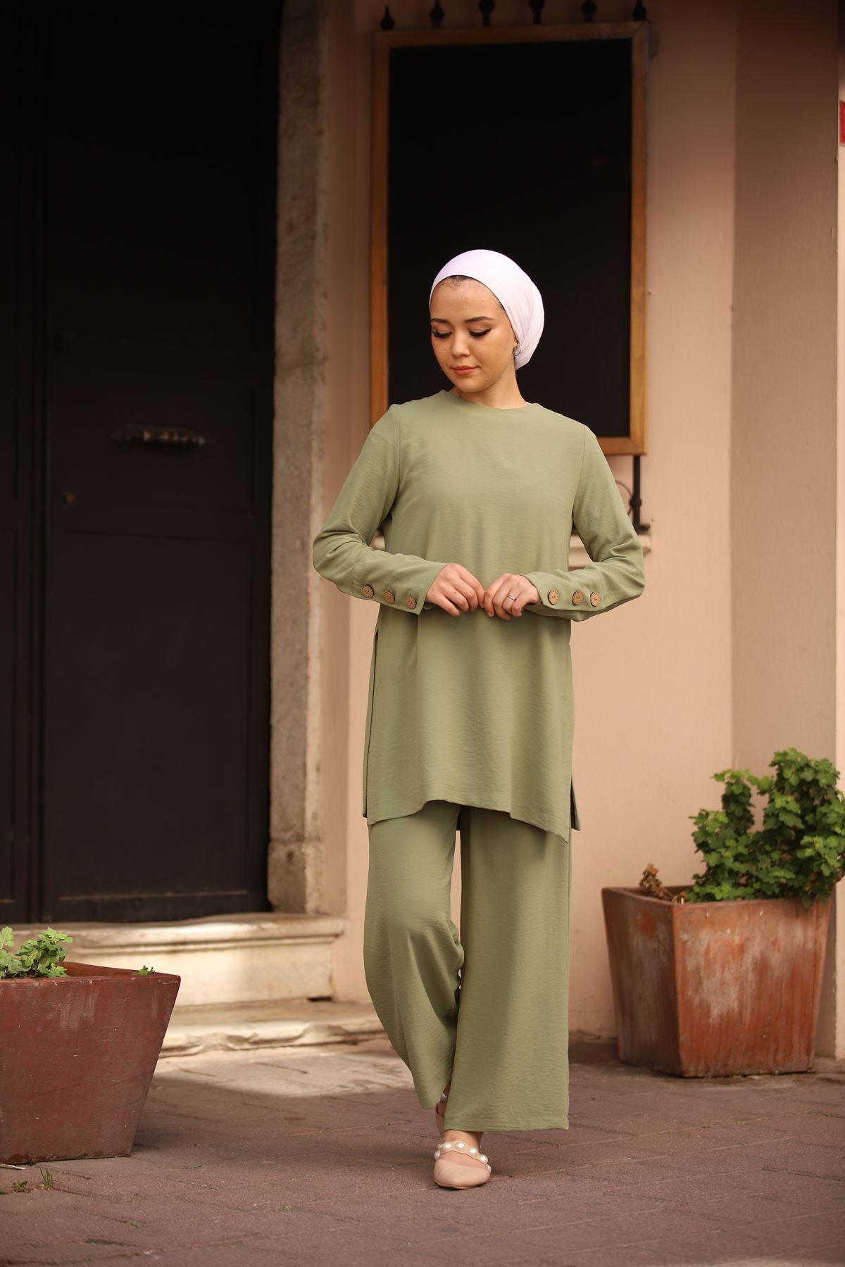 Yırtmaçlı Tunik Pantolon Ayrobin Takım - Çağla Yeşili