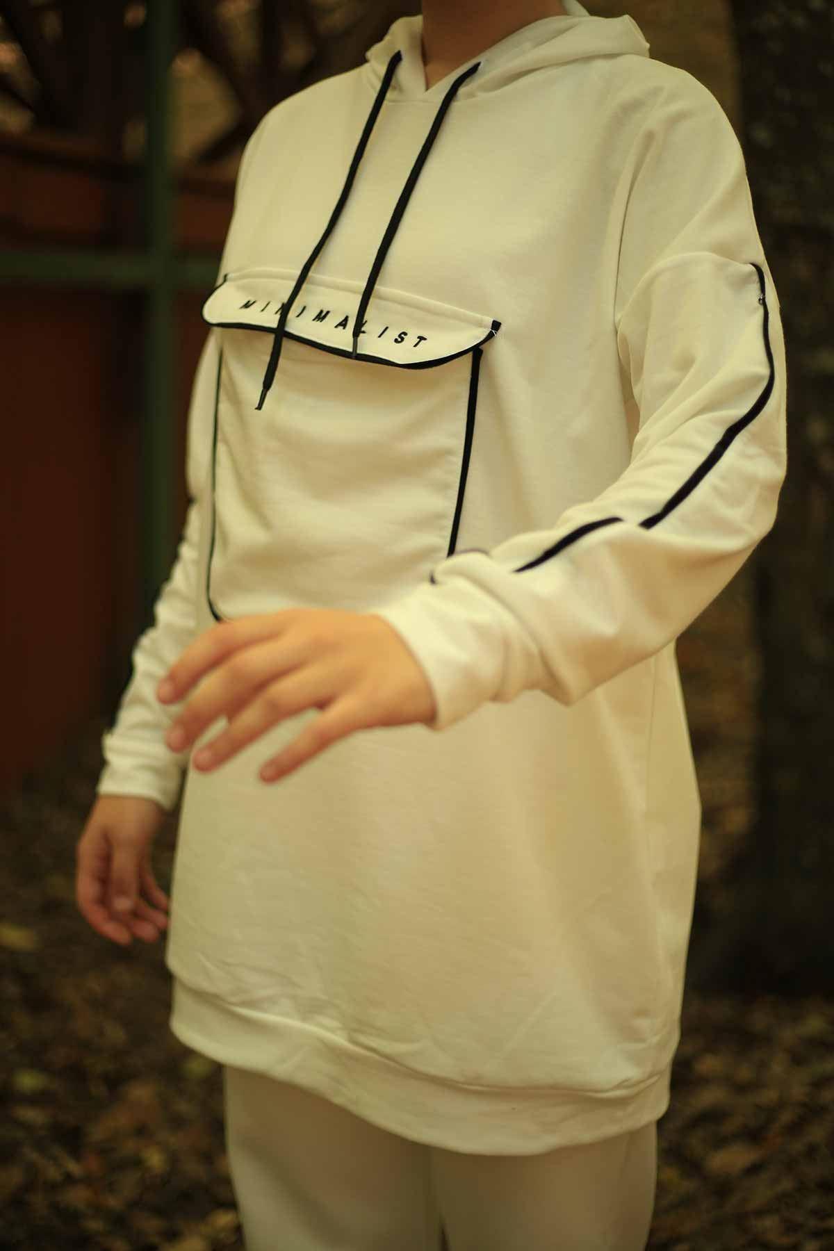 Minimalist Torba Cepli Sweat - Beyaz