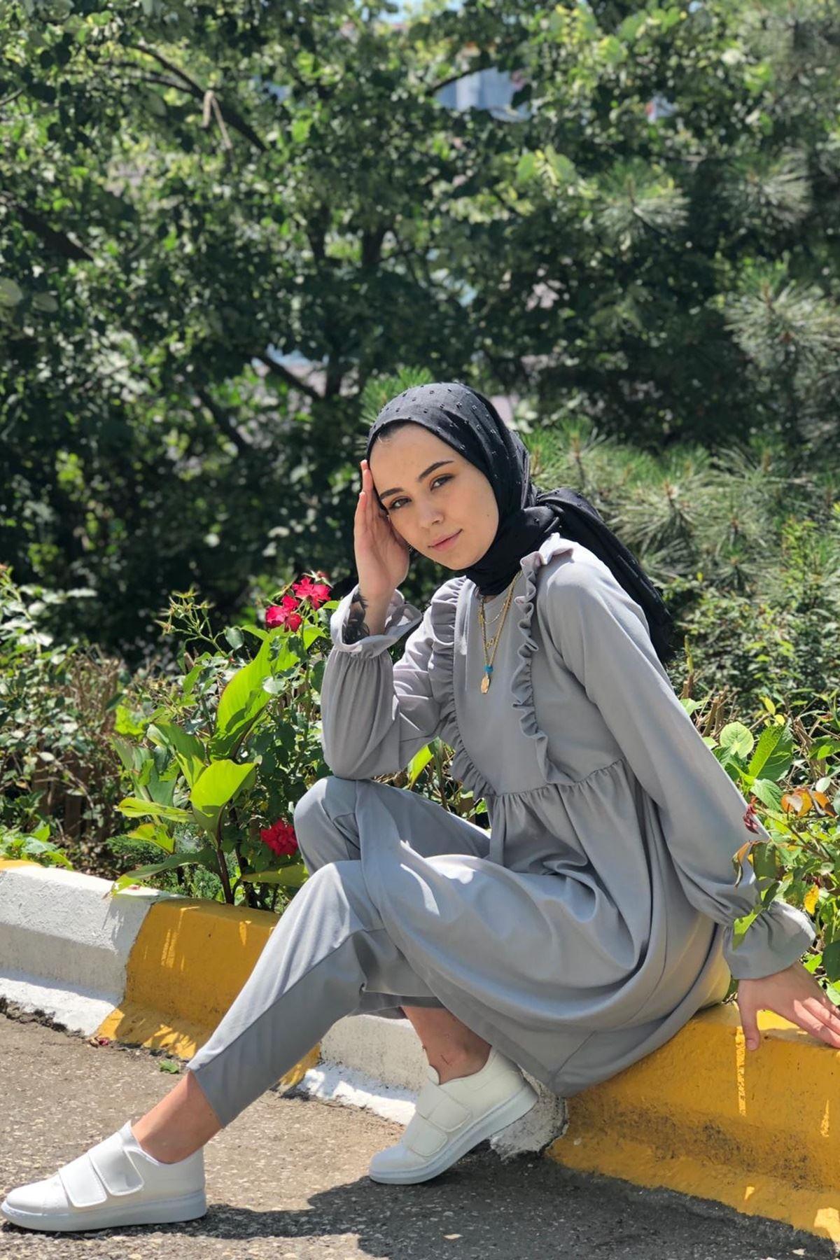 Roza İkili Tesettür Takım - Gri