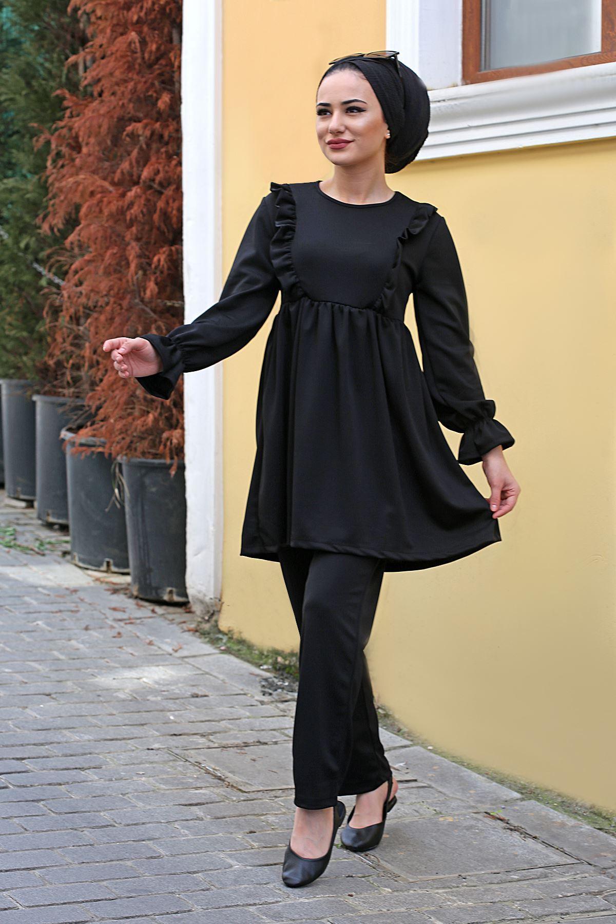 Roza İkili Tesettür Takım - Siyah