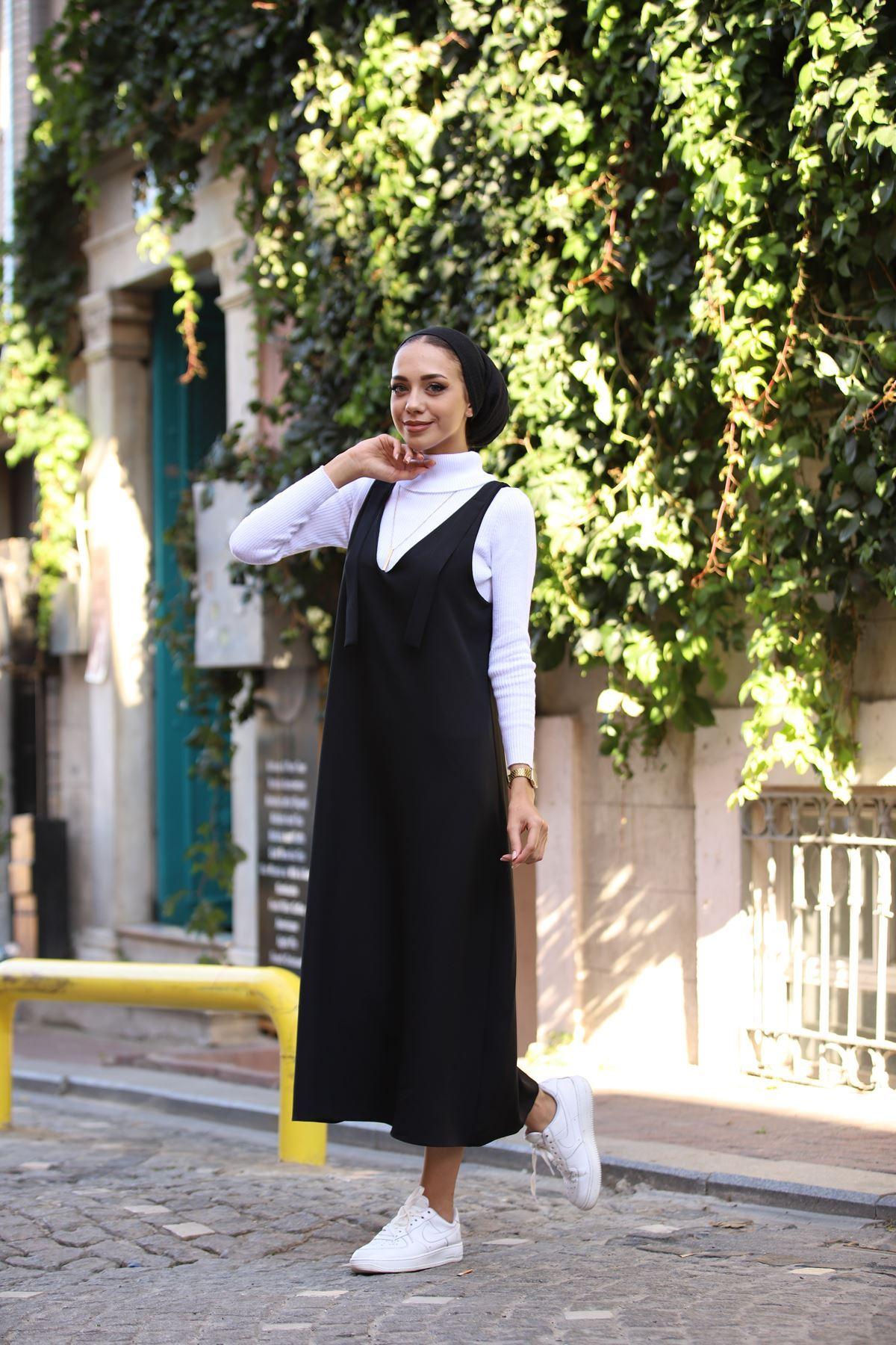Duble Jile Elbise - Siyah