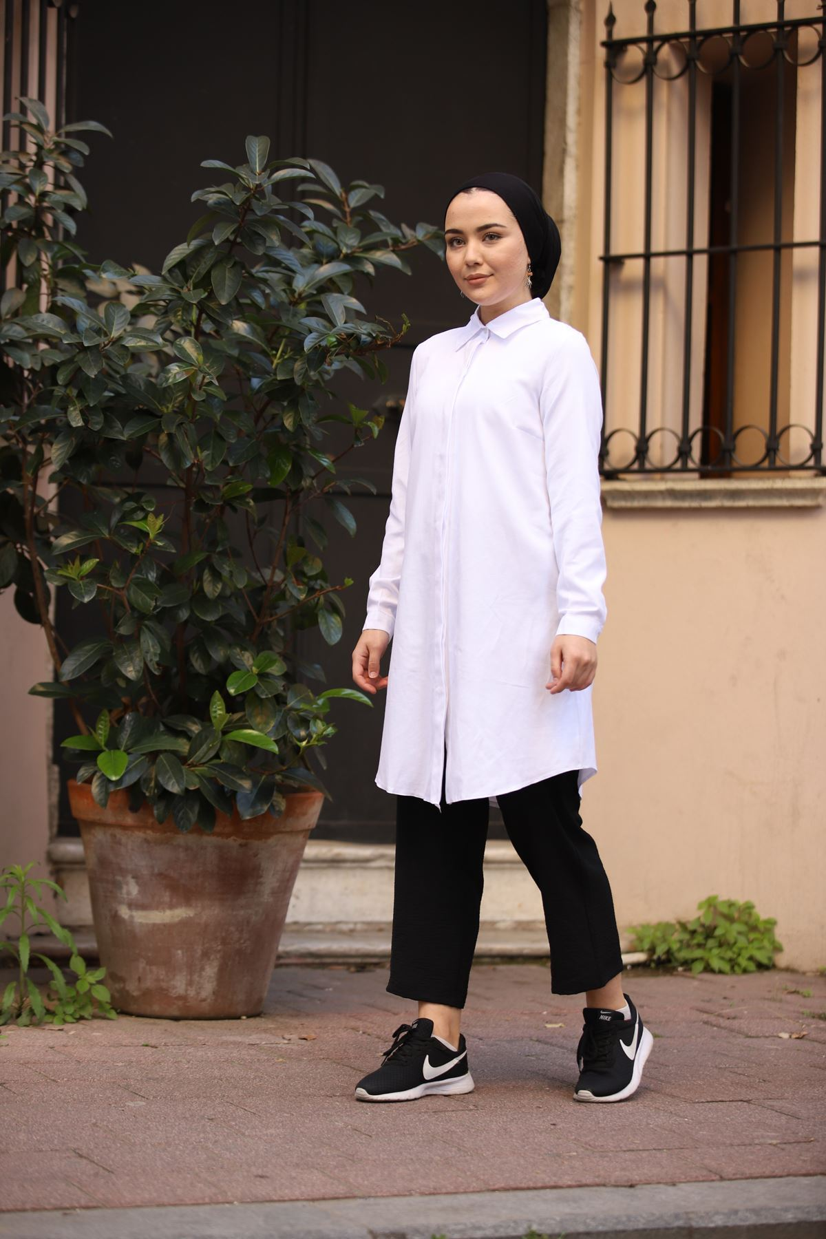 Basic Tesettür Tunik Gömlek - Beyaz