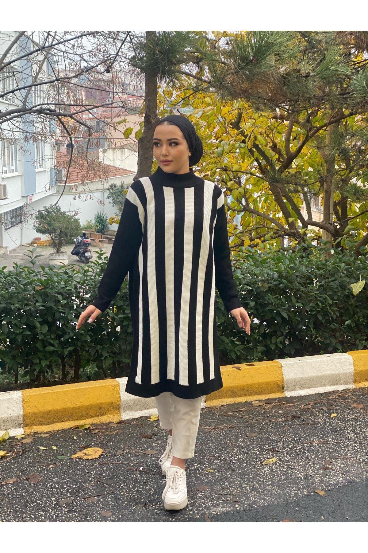 Çizgili Oversize Triko Tunik- Siyah-Beyaz