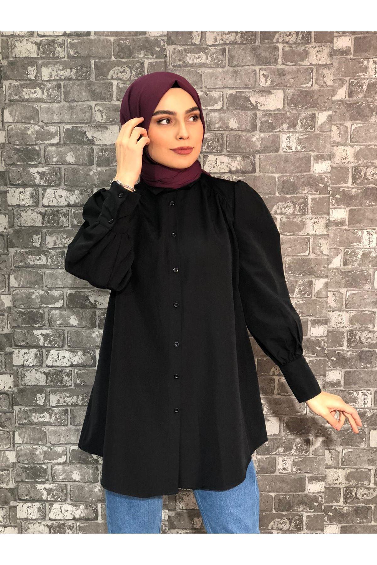 Kalın Manşetli Mevlana Tunik Gömlek - Siyah