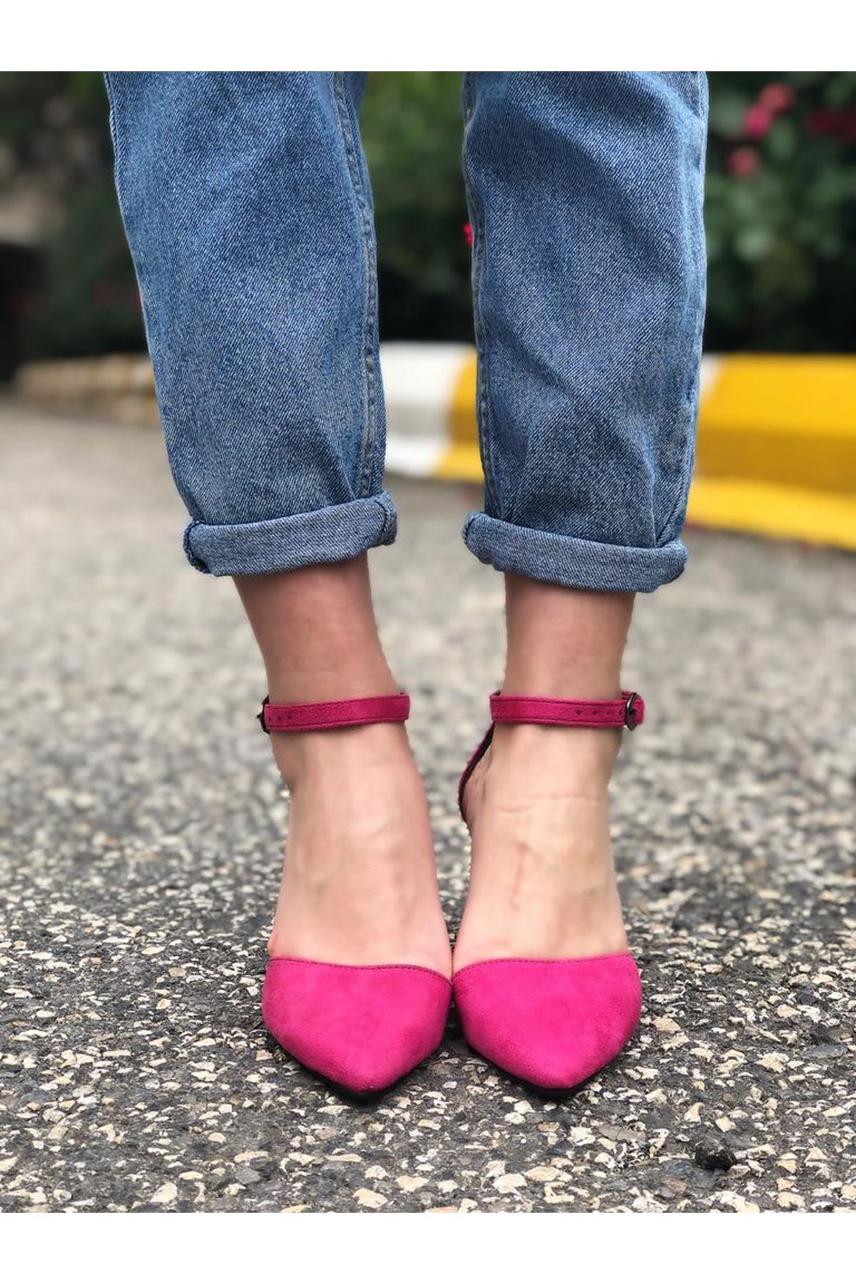 Kalın Topuklu Stiletto Ayakkabı - Fuşya