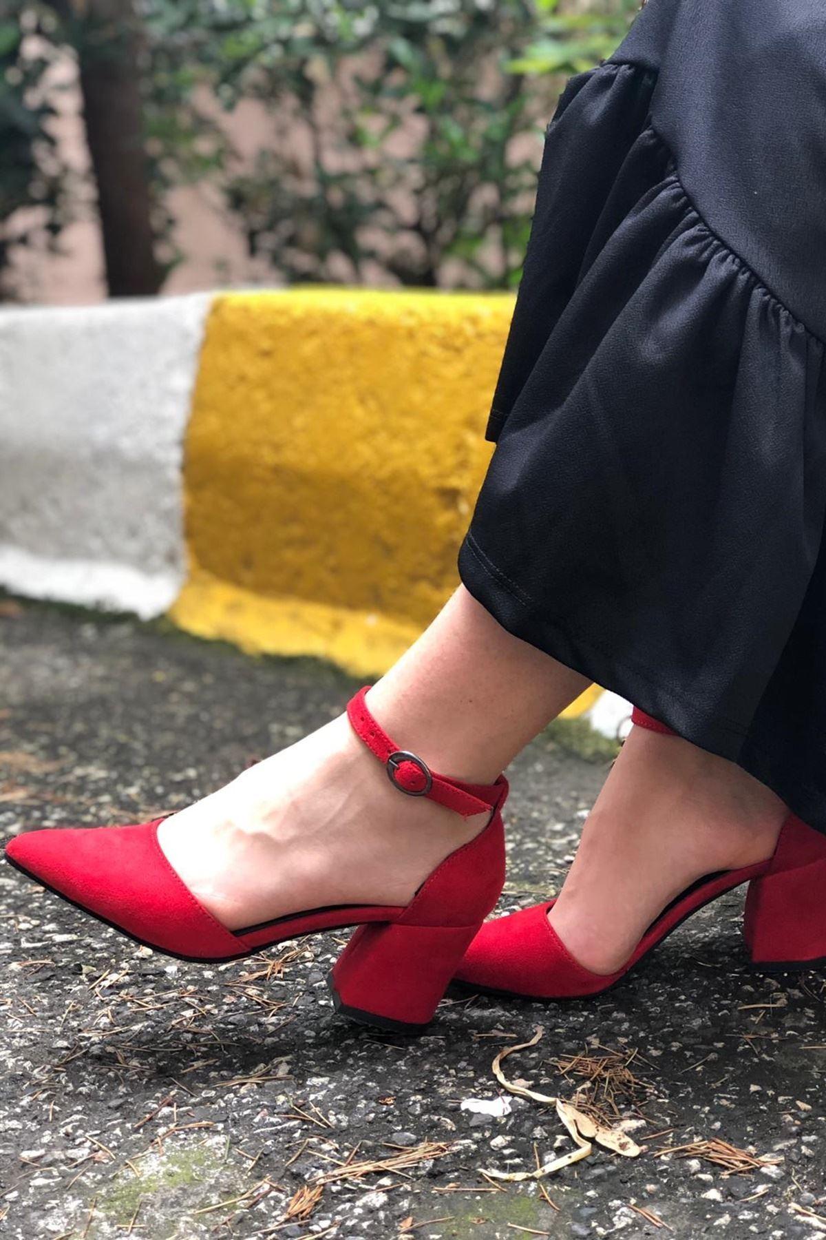 Kalın Topuklu Stiletto Ayakkabı - Kırmızı