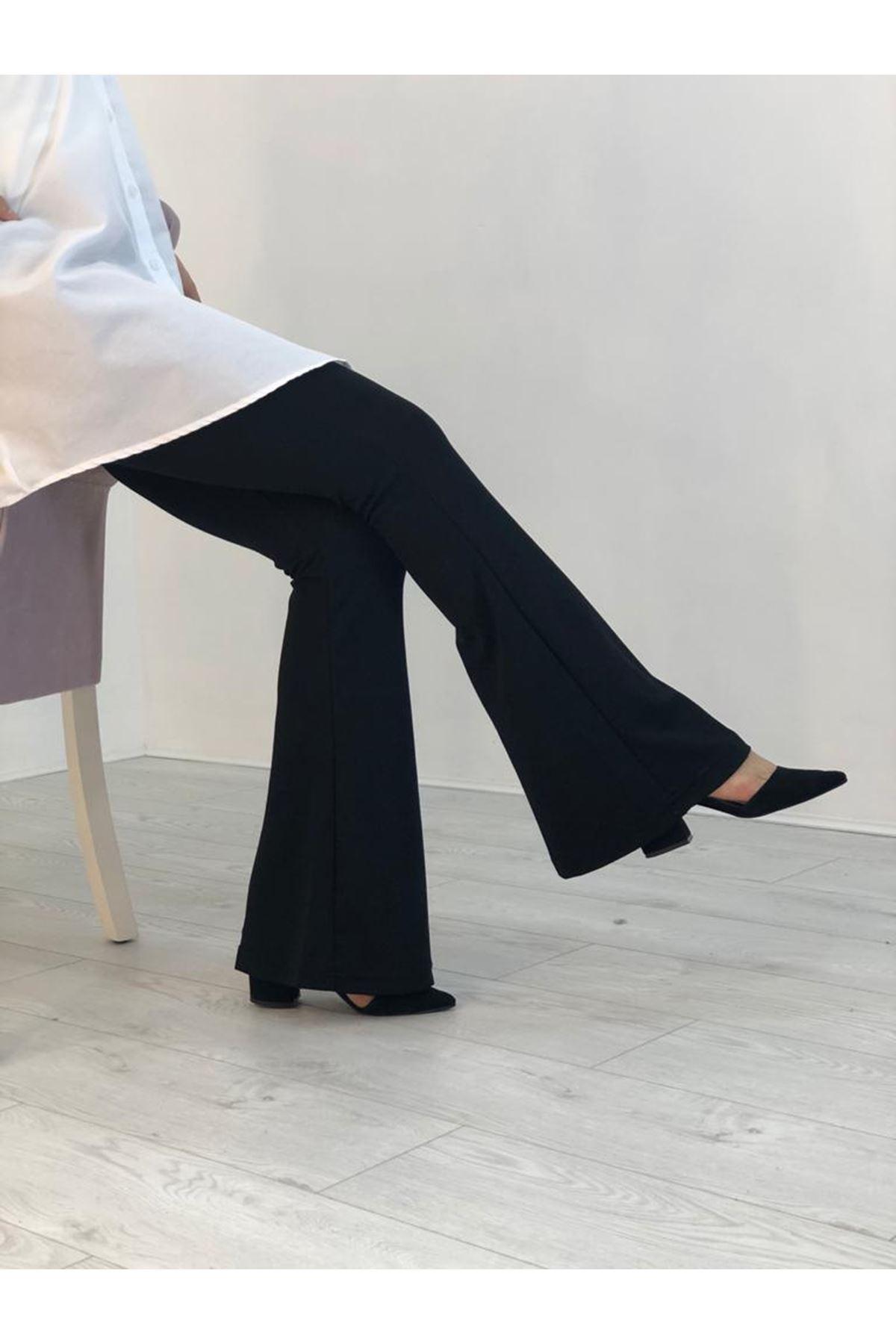 Likralı İspanyol Paça Pantolon - Siyah