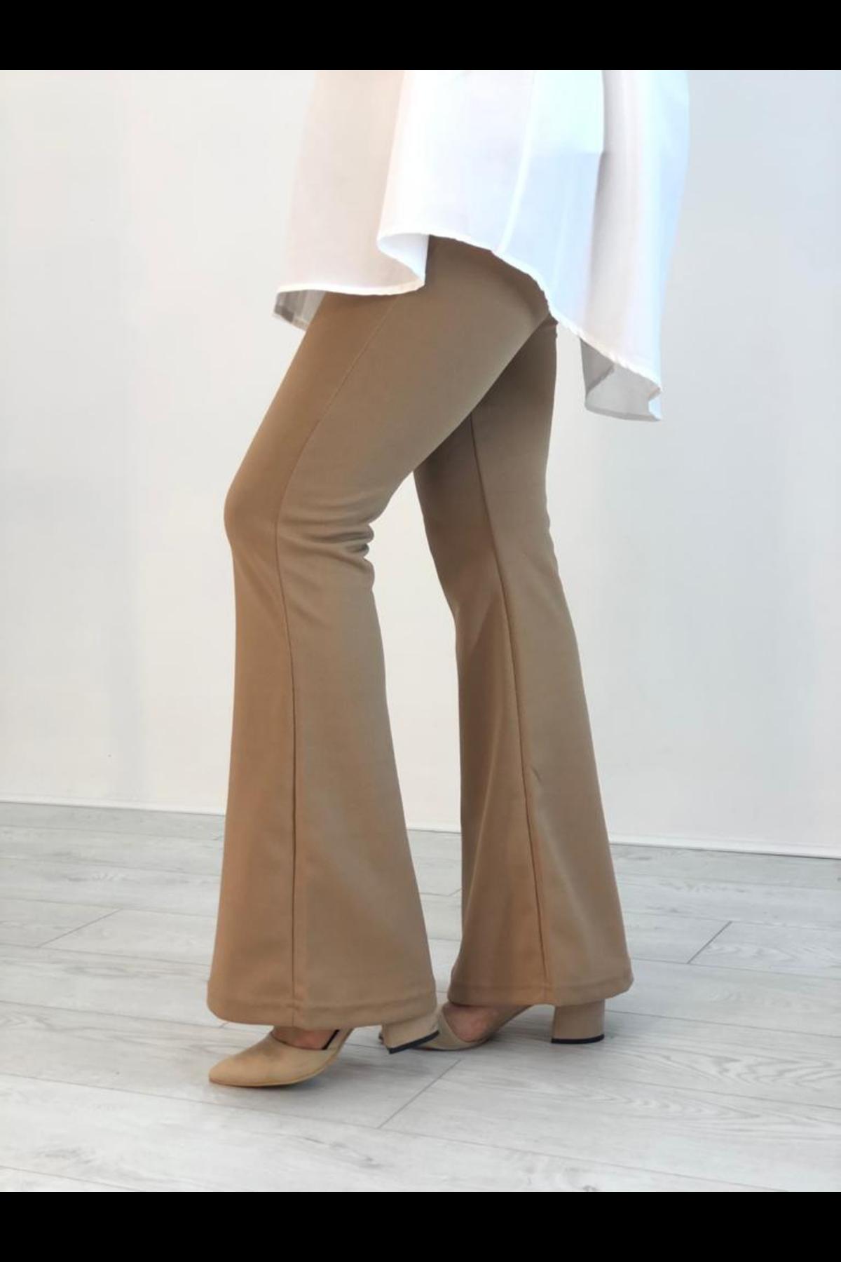 Likralı İspanyol Paça Pantolon - Camel
