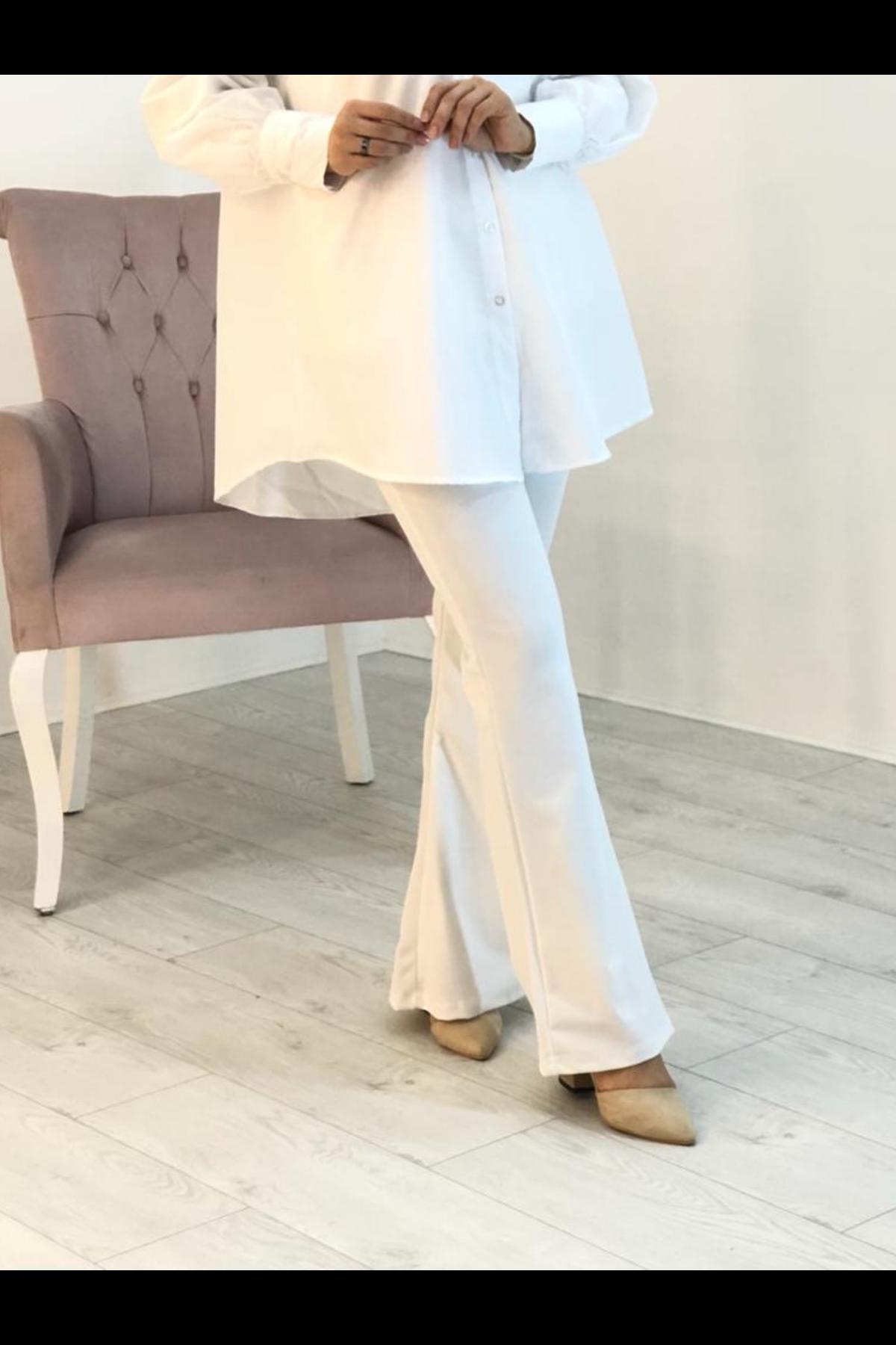 Likralı İspanyol Paça Pantolon - Beyaz