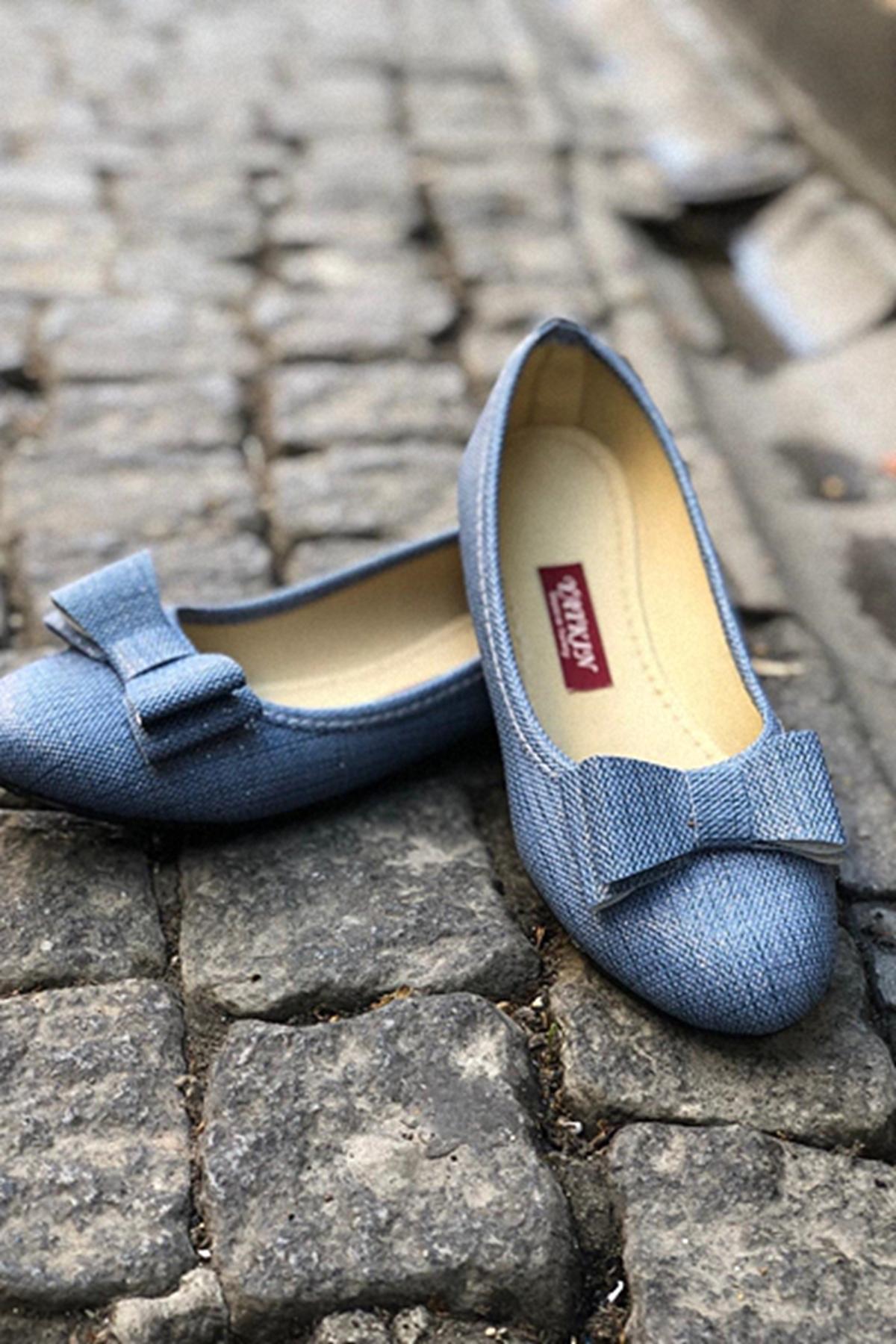 Fiyonklu Babet Ayakkabı - MAVİ