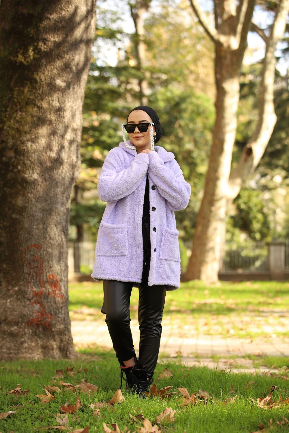 Düğmeli Peluş Ceket - Lila