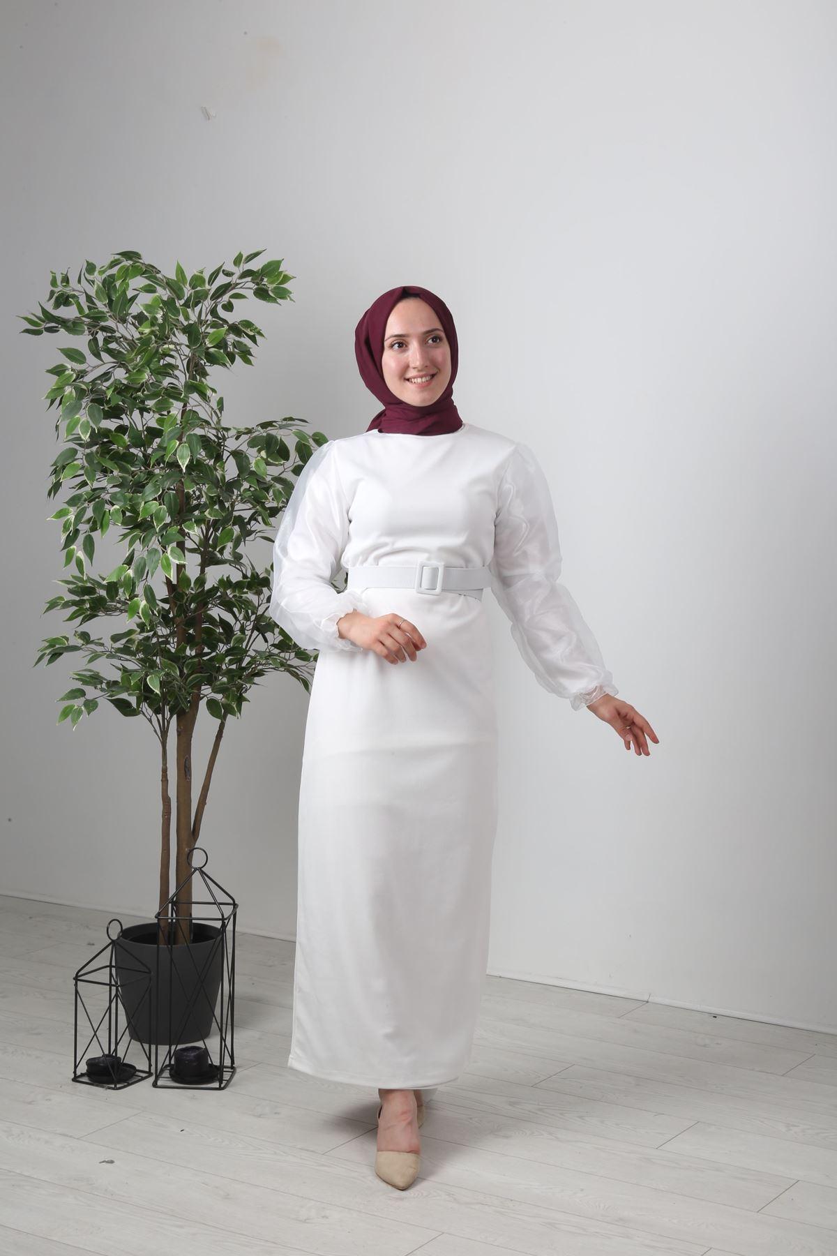 Organze Kol Tül Tesettür Elbise - EKRU
