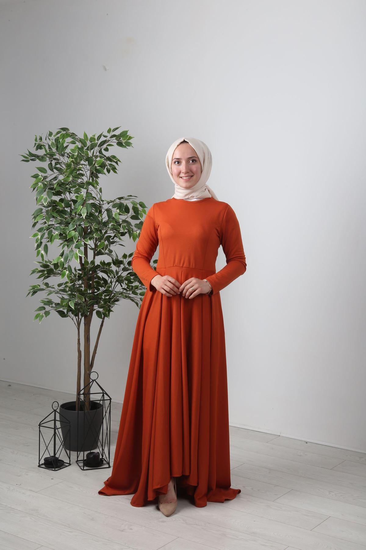Kuyruklu Tesettür  Elbise - KİREMİT